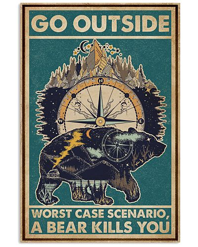 Retro Green Go Outside Compass Bear