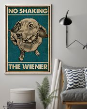 Retro Green No Shaking The Wiener Dachshund 16x24 Poster lifestyle-poster-1