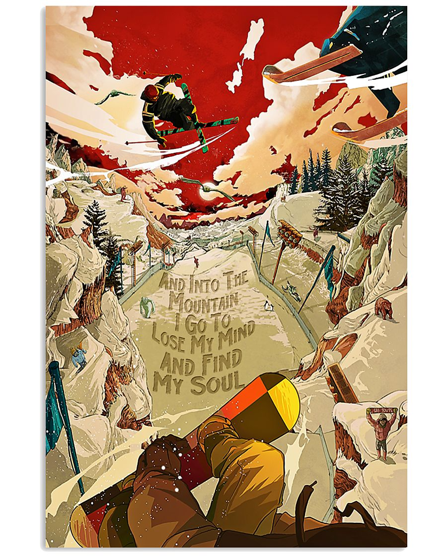 And Into The Mountain Skiing 16x24 Poster