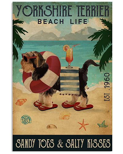 Vintage Beach Cocktail Life Yorkshire Terrier