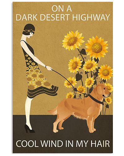 Sunflower Vintage Girl Highway Golden Retriever