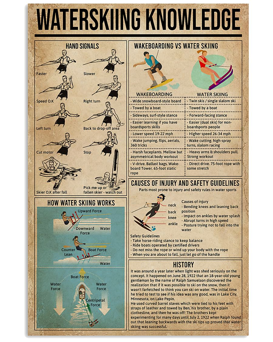 Waterskiing Knowledge 16x24 Poster