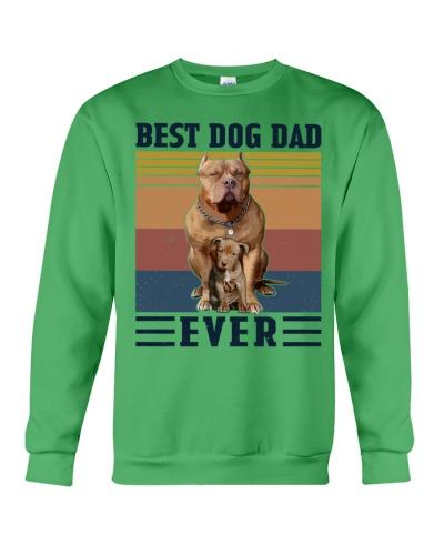 Retro Navy Best Dog Dad Ever Pit Bull