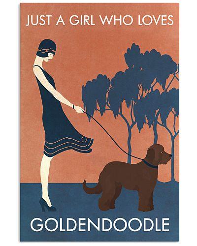 Vintage Girl Who Loves Goldendoodle