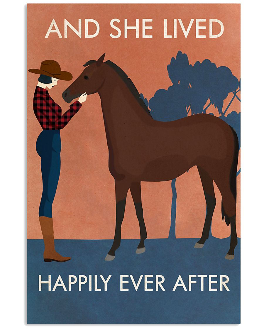 Vintage Girl She Lived Happily Horse 16x24 Poster