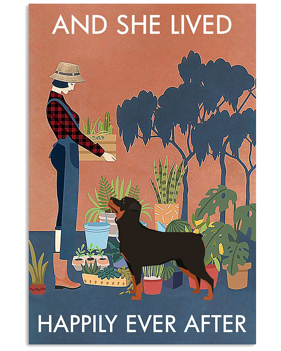 Vintage Lived Happily Gardening Rottweiler 11x17 Poster