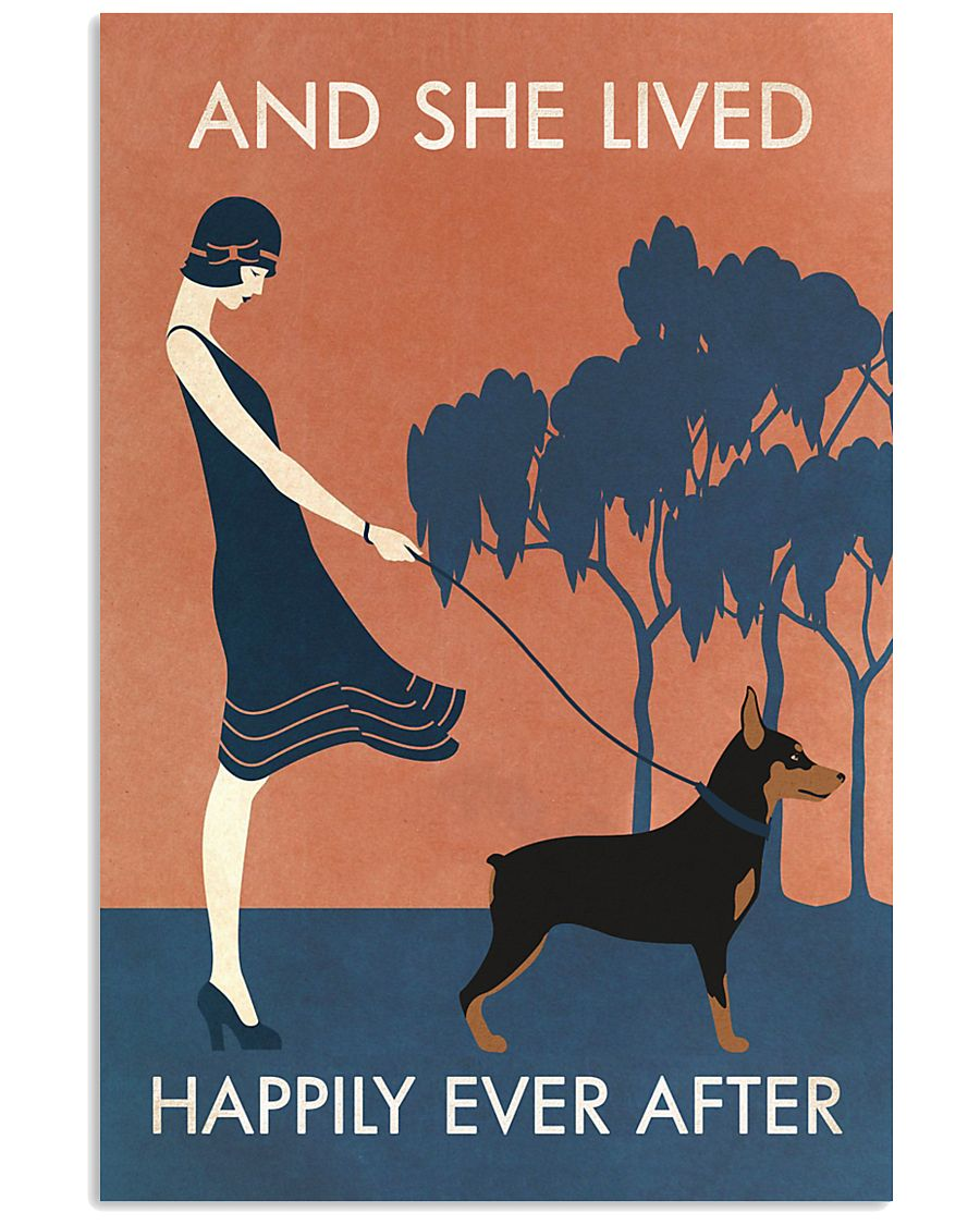 Vintage Girl Lived Happily Miniature Pinscher 11x17 Poster
