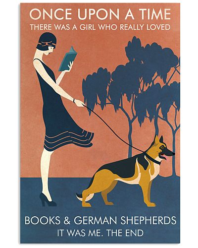 Vintage Girl Once Upon Reading German Shepherd
