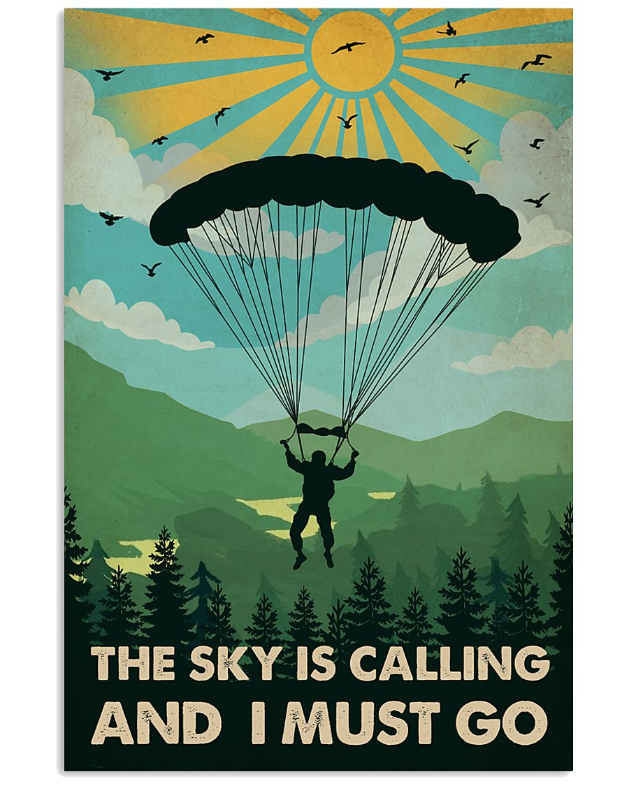 Vintage The Sky Is Calling Skydiving 11x17 Poster