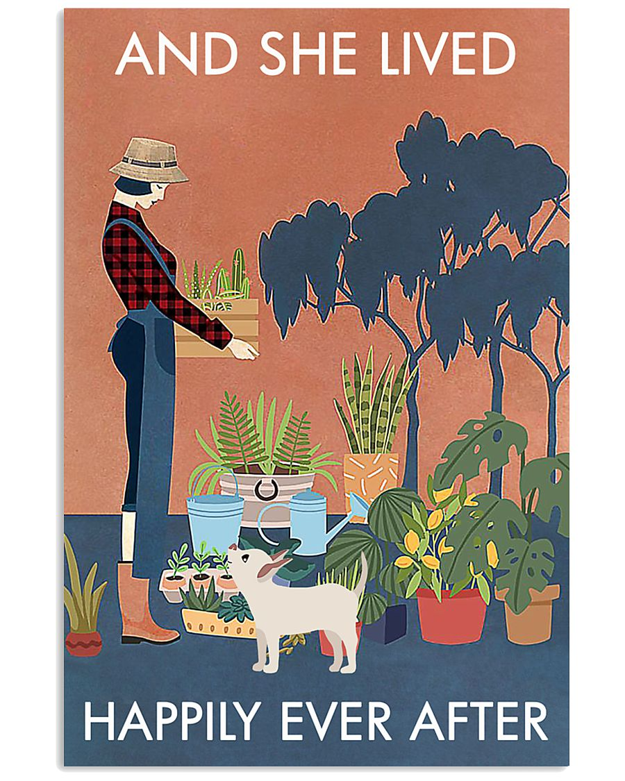 Vintage And She Lived Happily Dog Gardening 11x17 Poster