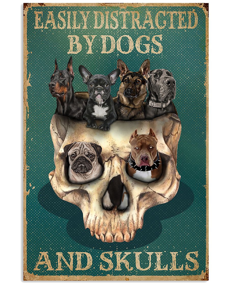 Retro Teal Easily Distracted By Dogs And Skulls 11x17 Poster