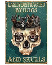 Retro Teal Easily Distracted By Dogs And Skulls 11x17 Poster front