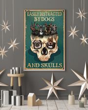 Retro Teal Easily Distracted By Dogs And Skulls 11x17 Poster lifestyle-holiday-poster-1