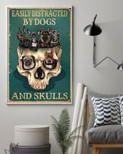Retro Teal Easily Distracted By Dogs And Skulls 11x17 Poster lifestyle-poster-1