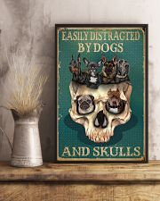 Retro Teal Easily Distracted By Dogs And Skulls 11x17 Poster lifestyle-poster-3