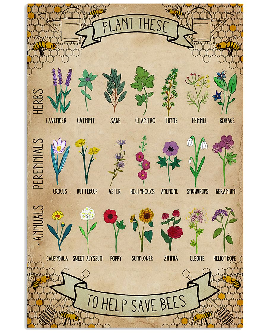 Plant These To Help Save Bees 11x17 Poster