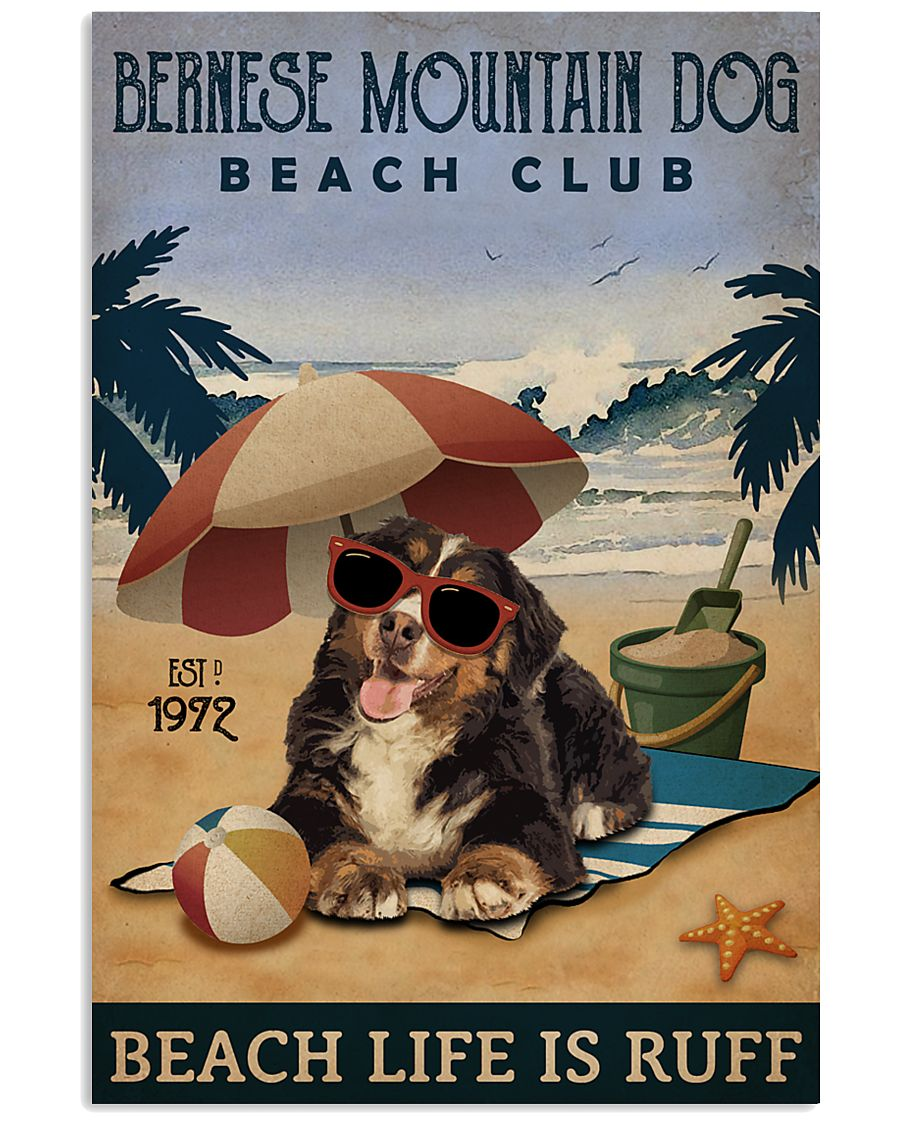 Vintage Beach Club Is Ruff Bernese Mountain Dog 11x17 Poster