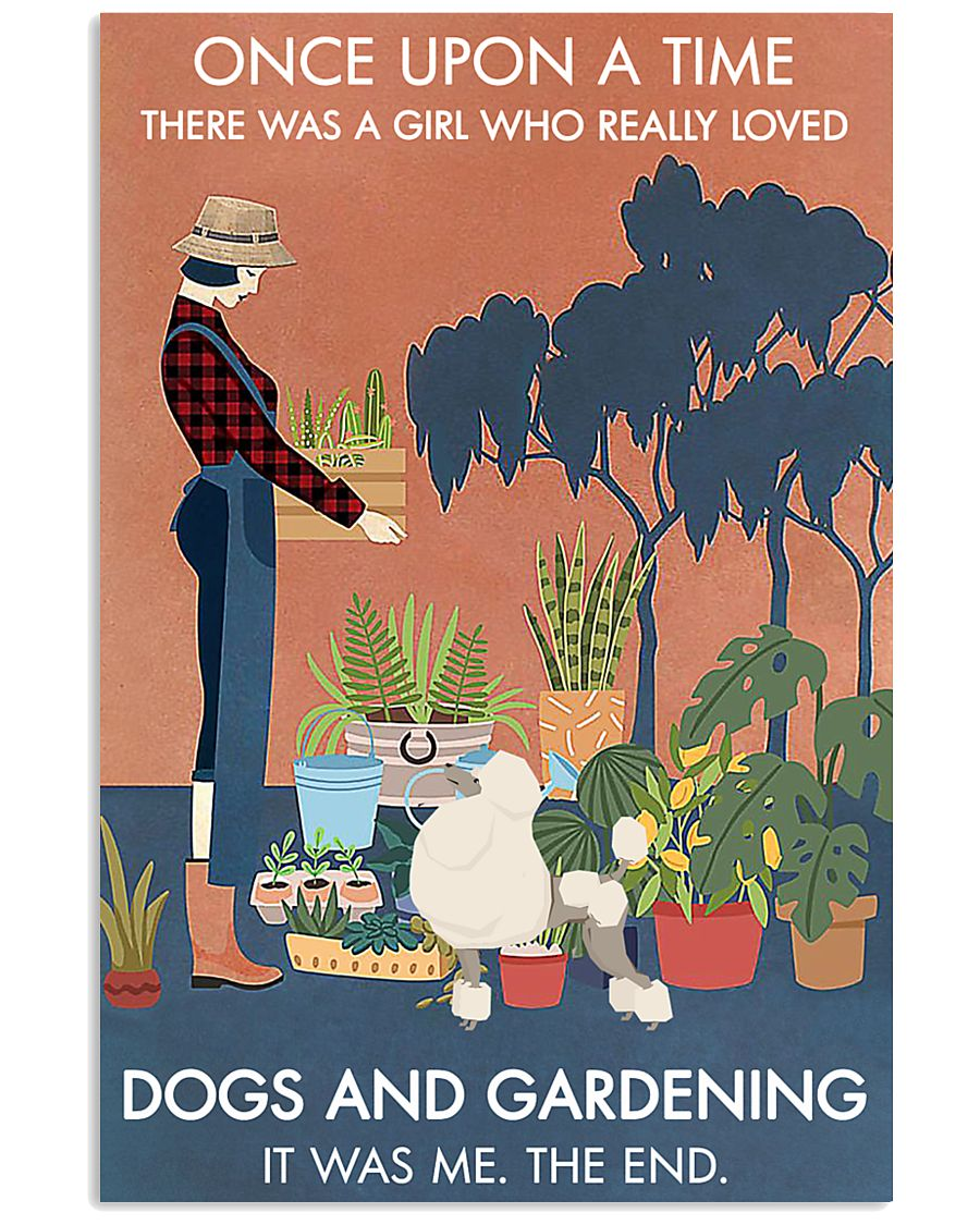 Vintage Once Upon A Time Gardening Poodle 11x17 Poster
