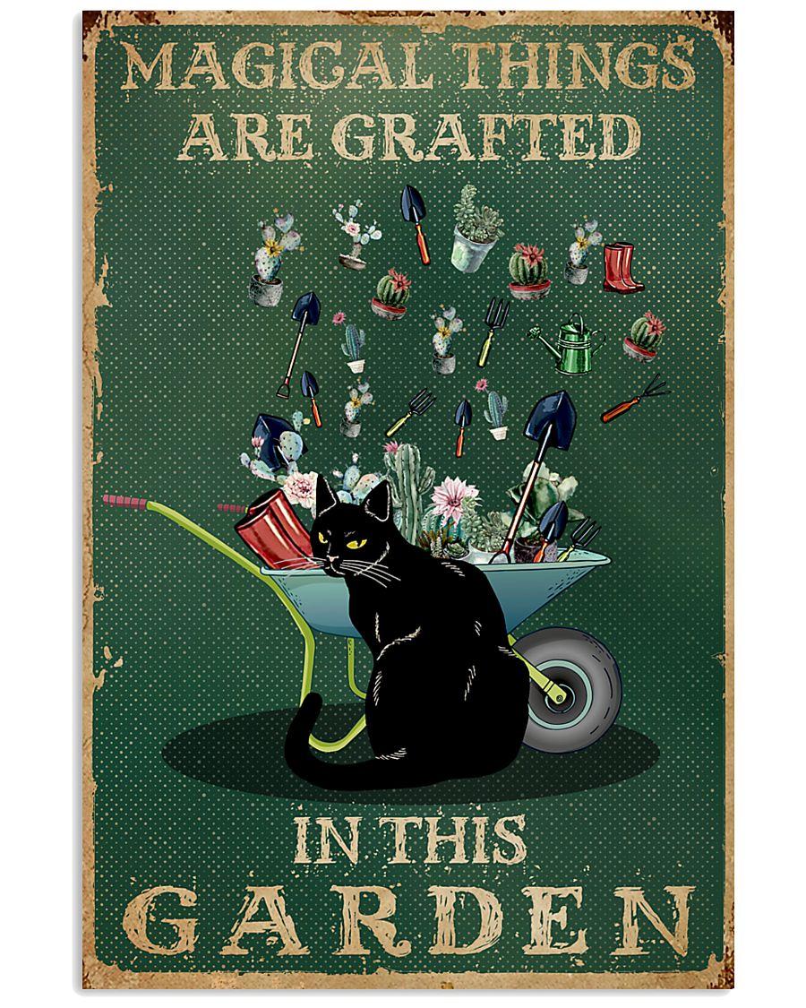 Retro Green Magical Things Garden Black Cat 11x17 Poster
