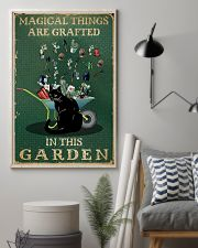 Retro Green Magical Things Garden Black Cat 11x17 Poster lifestyle-poster-1
