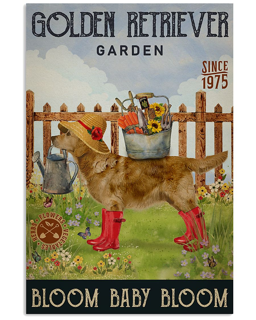Gardening Bloom Baby Golden Retriever 11x17 Poster