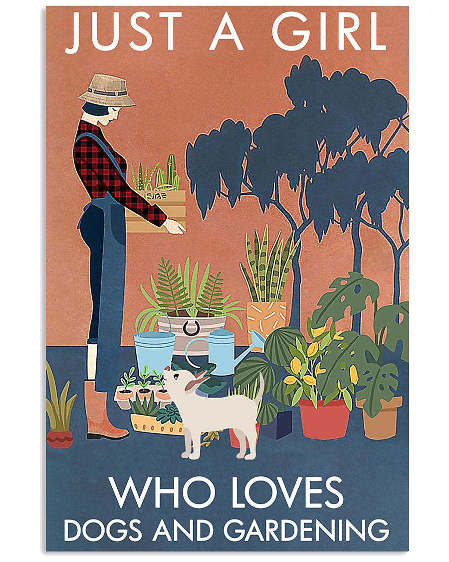 Vintage Just A Girl Loves Gardening And Dog 16x24 Poster