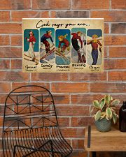 God Says You Are Skiing Girls 24x16 Poster poster-landscape-24x16-lifestyle-24
