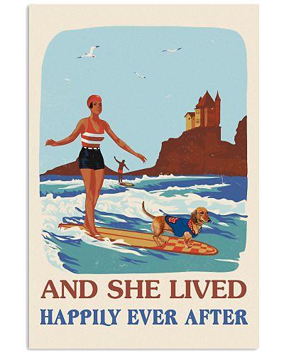 Retro She Lived Happily Surfing Girl Dachshund