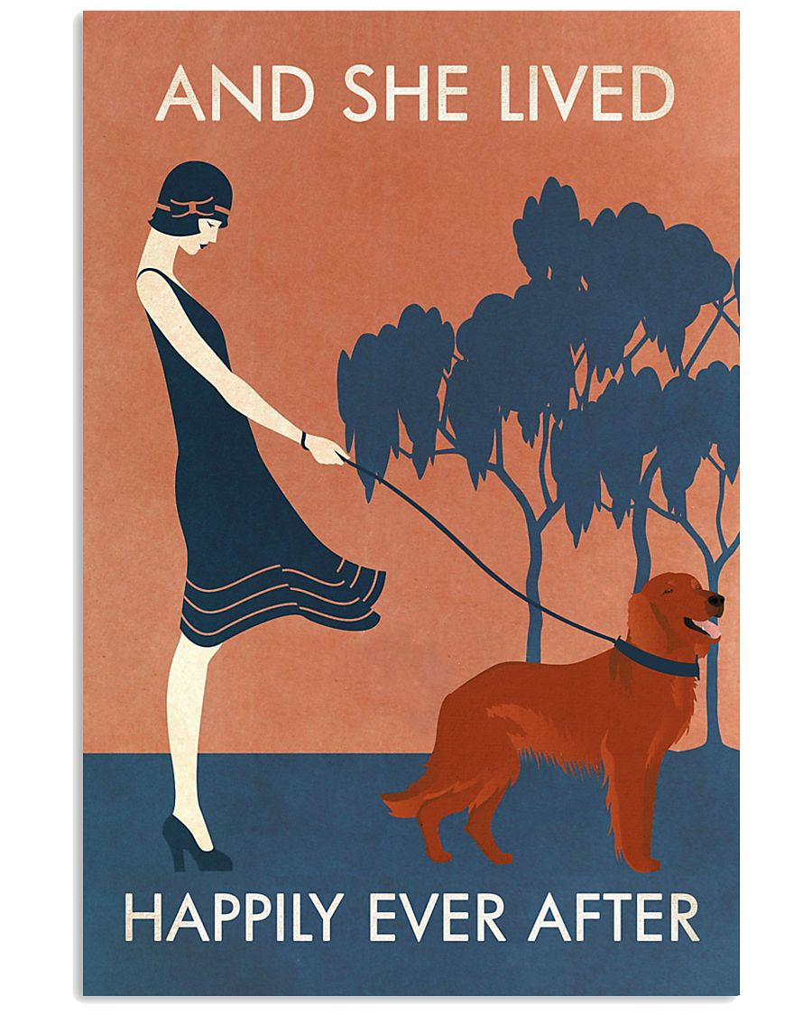 Vintage Girl Lived Happily Irish Setter 11x17 Poster