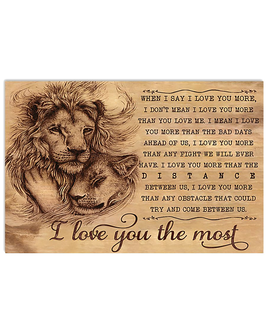 Lion I Love You The Most 17x11 Poster