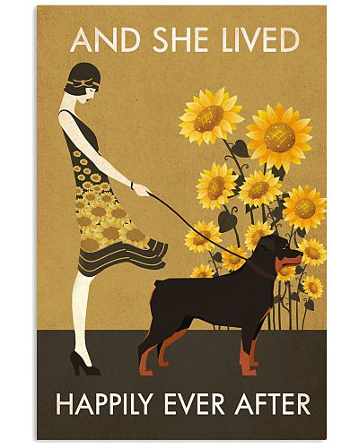 Sunflower Vintage Girl Lived Happily Rottweiler