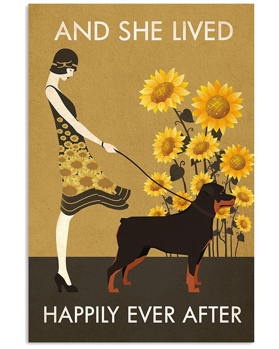 Sunflower Vintage Girl Lived Happily Rottweiler 11x17 Poster