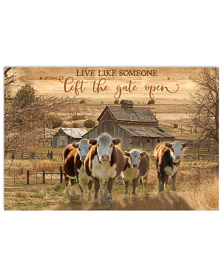 Hereford Cow The Gate Open 17x11 Poster