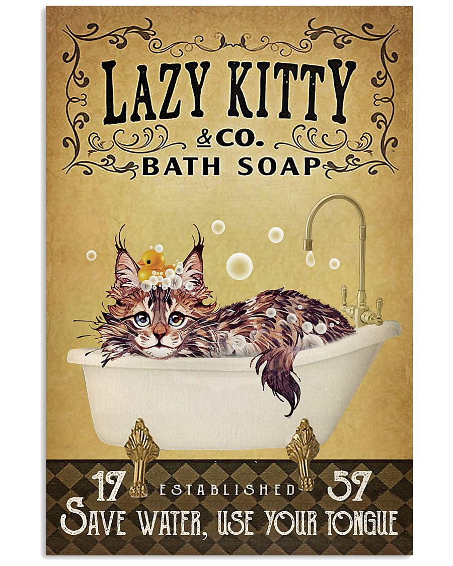 Yellow Bath Soap Maine Coon 16x24 Poster