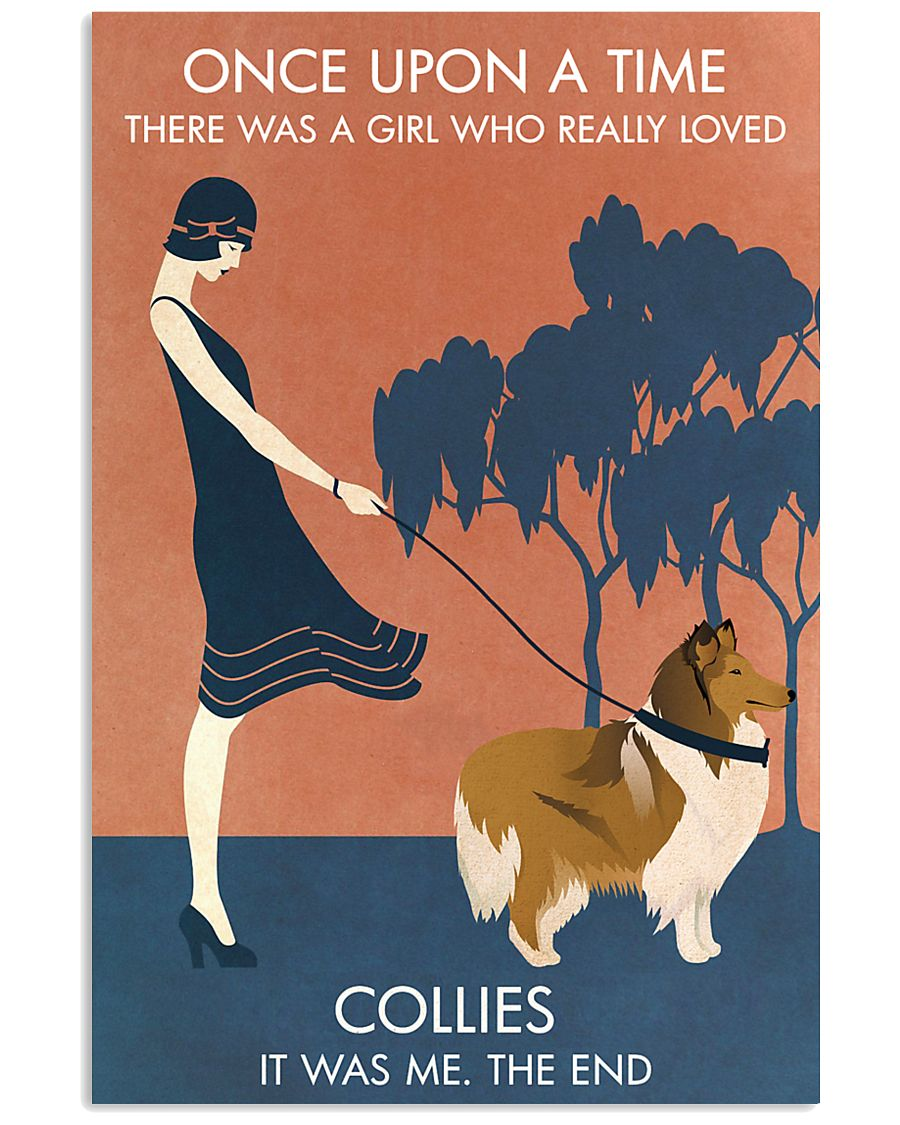 Vintage Girl Once Upon A Time Collie 11x17 Poster