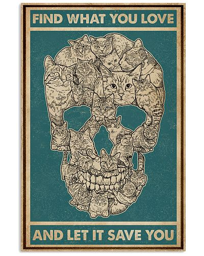 Retro Green Find What You Love Skull Cat