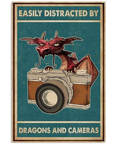 Retro Teal Easily Distracted Camera And Dragons