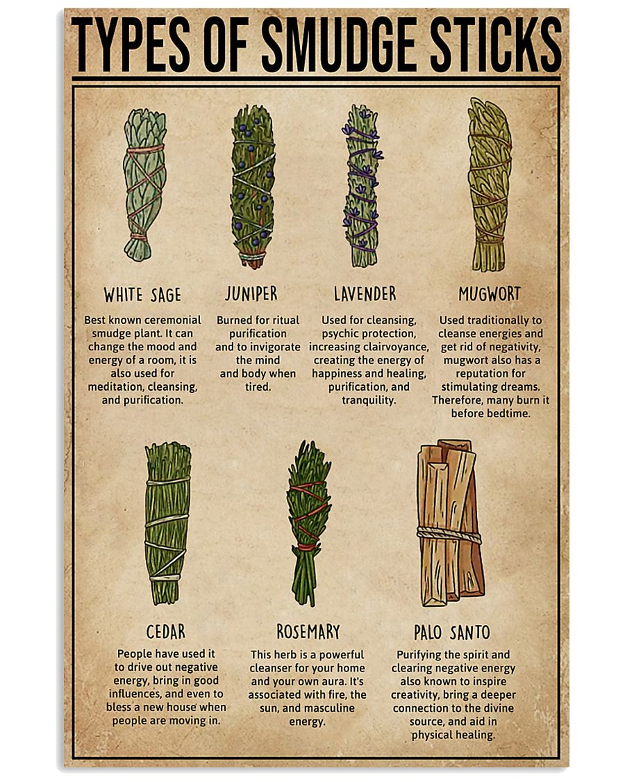 Types Of Smudge Sticks Witchery  11x17 Poster