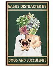 Easily Distracted By Pug And Succulents 11x17 Poster front
