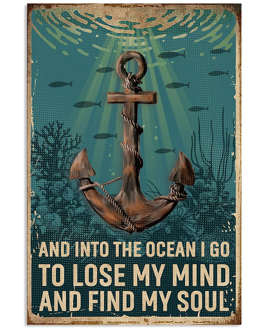 Retro Ocean Find My Soul Sailor 11x17 Poster