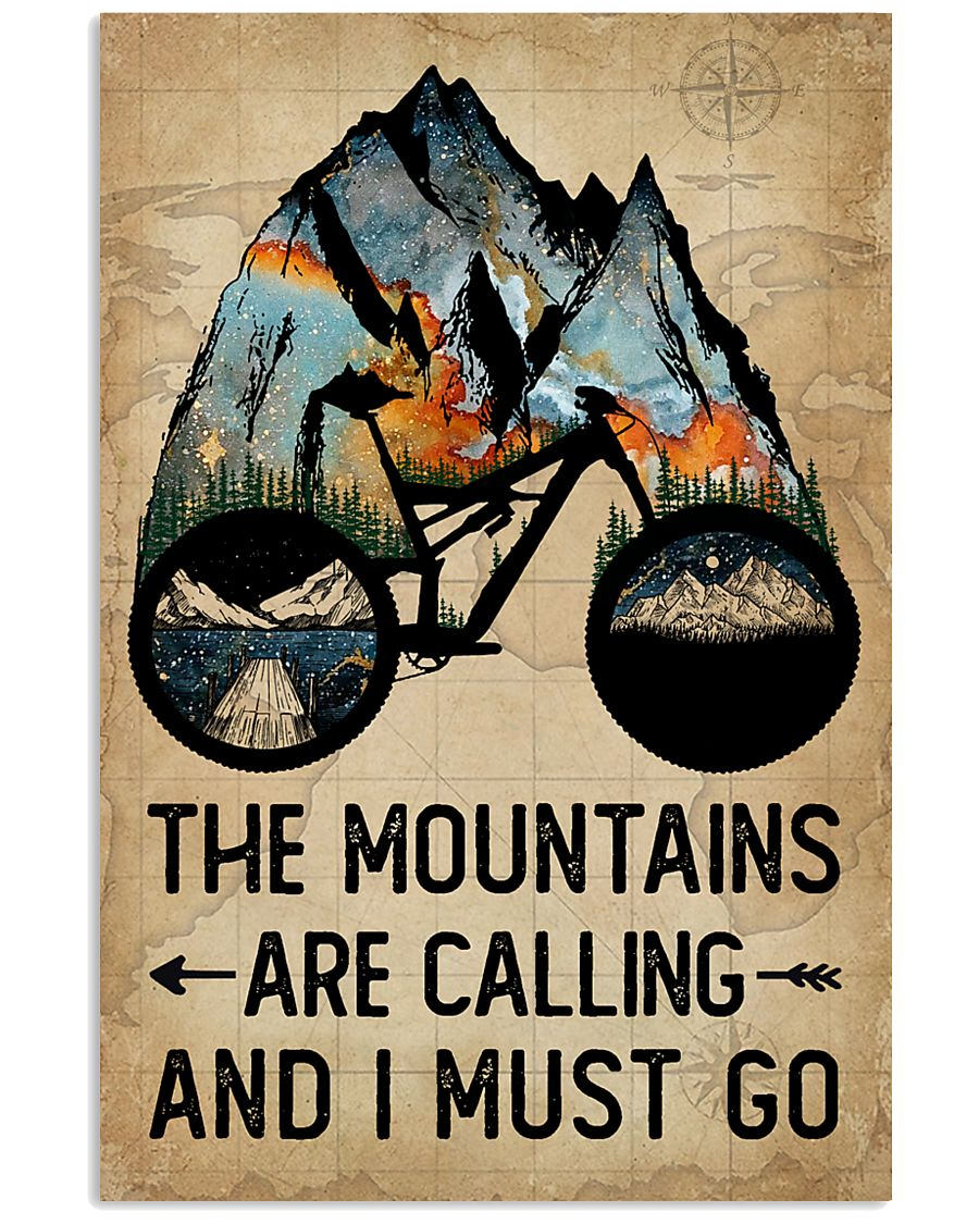 Watercolor Bike The Mountains Are Calling 11x17 Poster