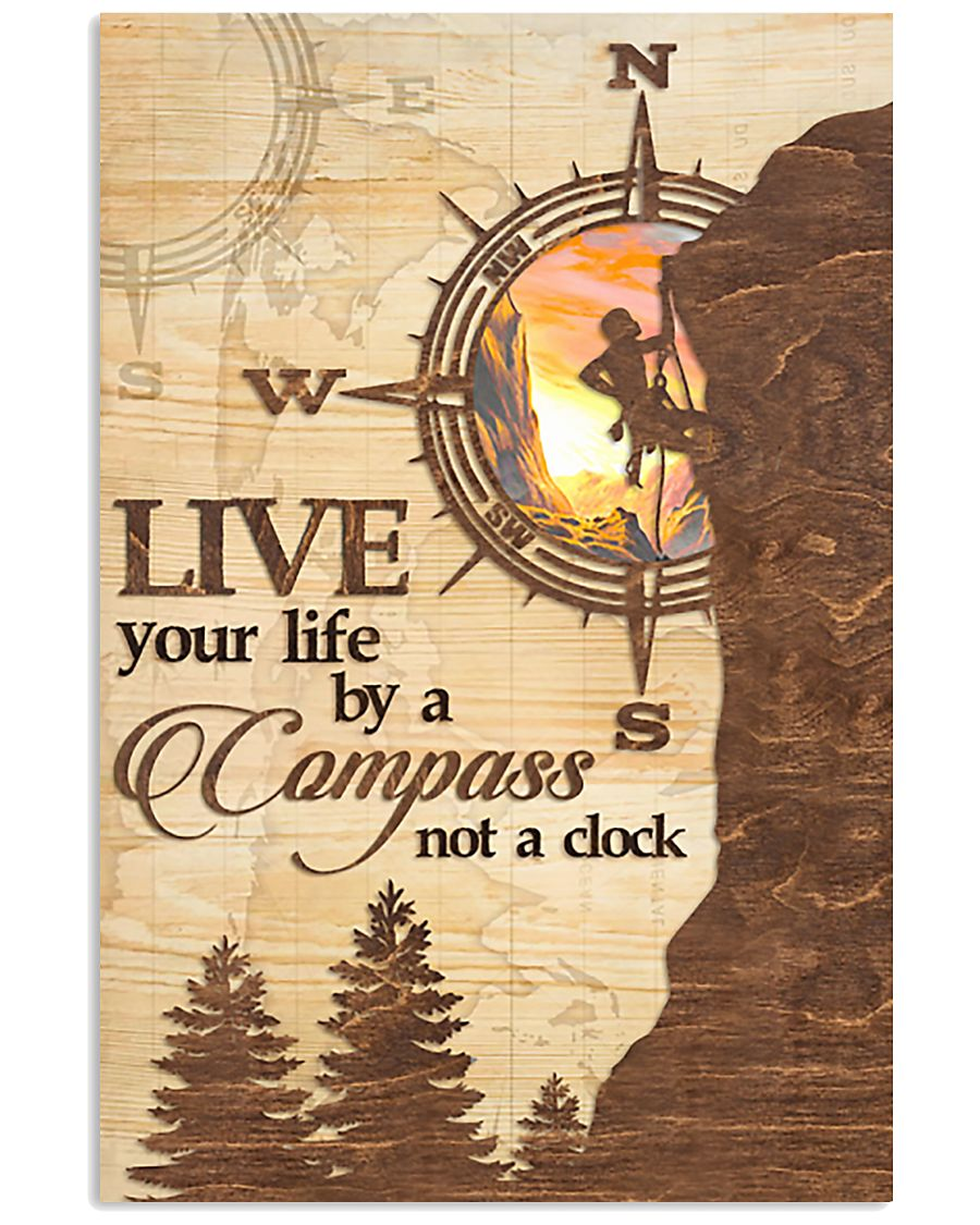 Hiking  Live Your Life By A Compass 11x17 Poster
