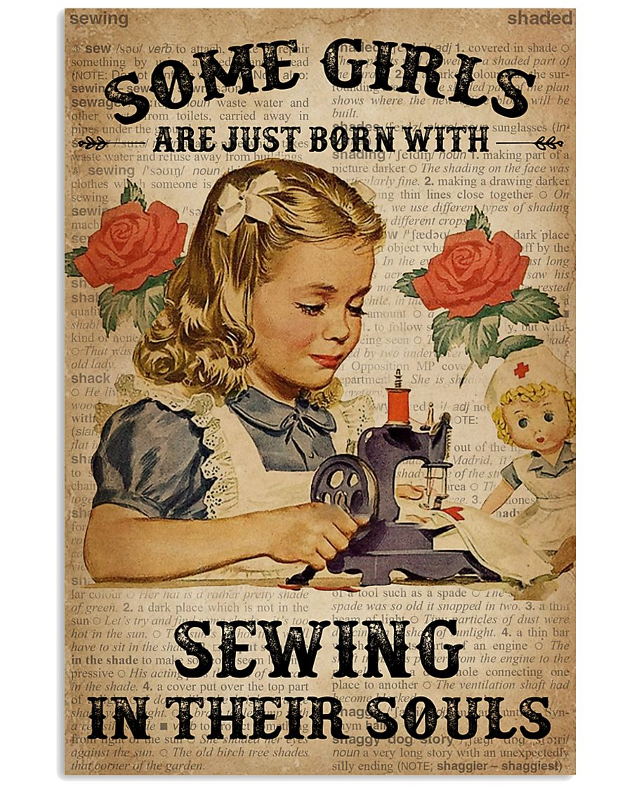 Vintage Dictionary Just Born Sewing Girl 11x17 Poster