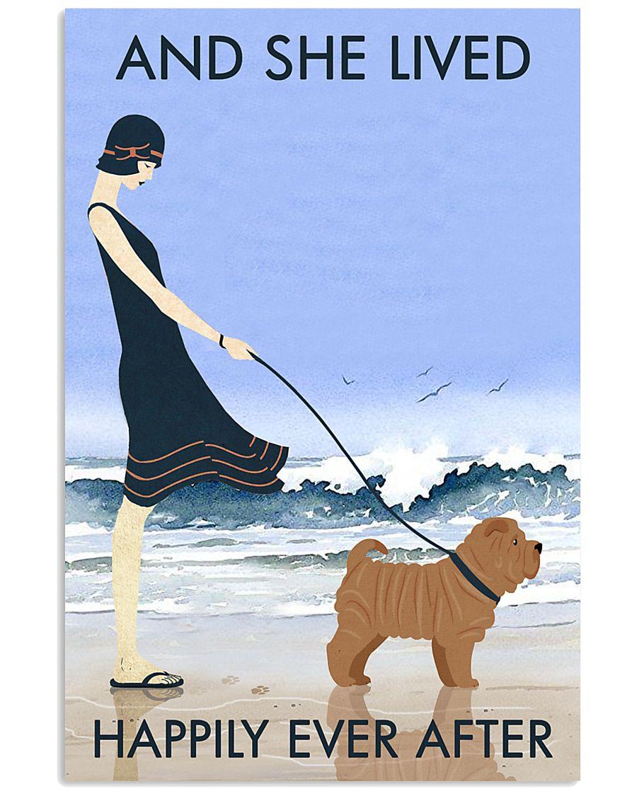 Beach And Dog Shar Pei 11x17 Poster