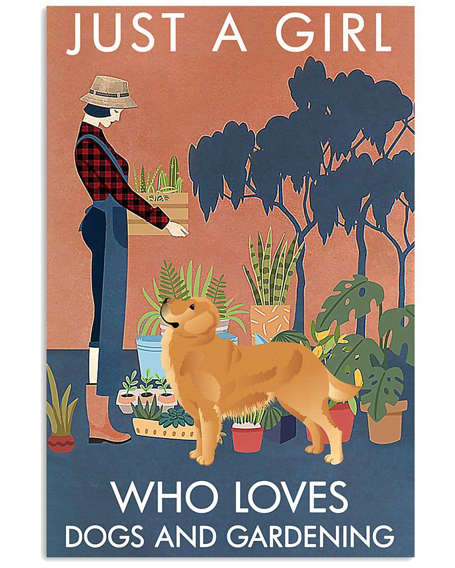 Vintage Girl Loves Gardening And Golden Retriever 11x17 Poster