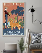 Vintage Girl Loves Gardening And Golden Retriever 11x17 Poster lifestyle-poster-1