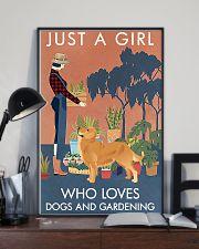 Vintage Girl Loves Gardening And Golden Retriever 11x17 Poster lifestyle-poster-2