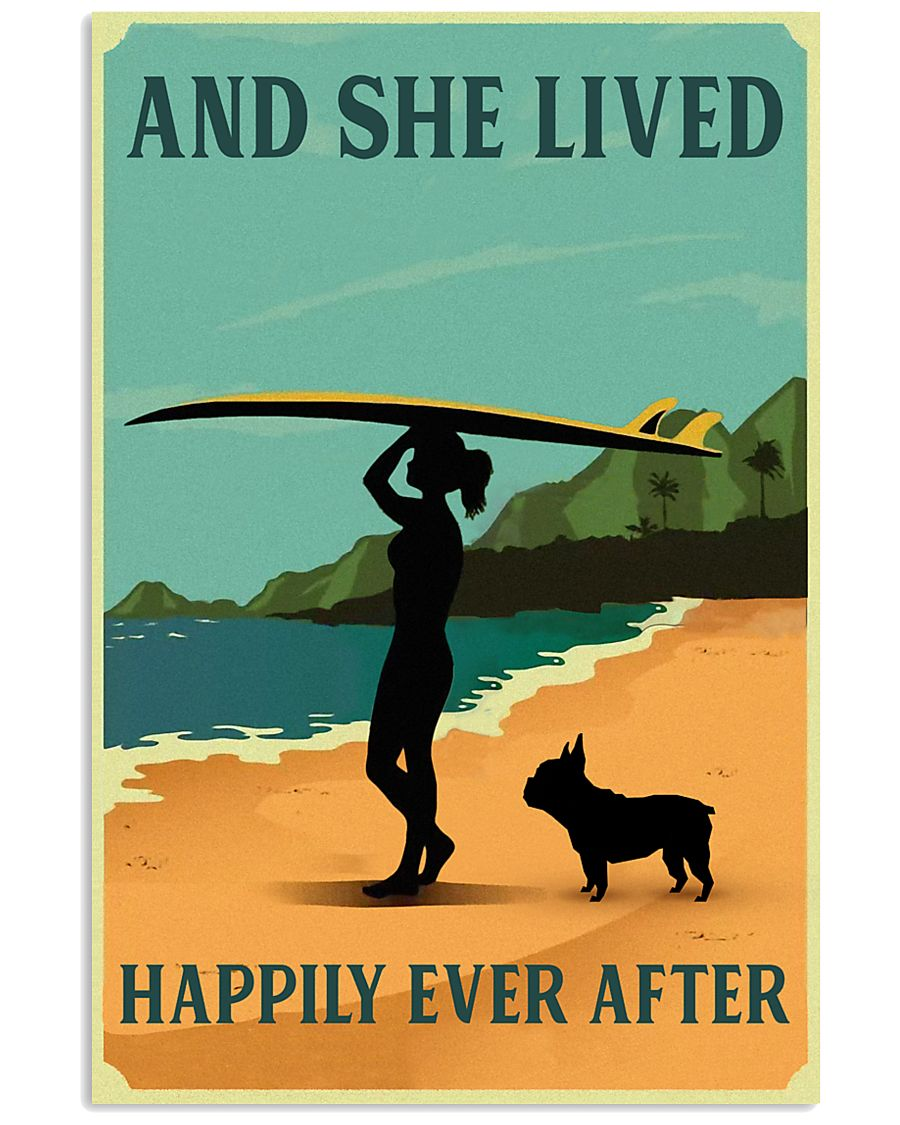 Vintage She Lived Happily Surfing French Bulldog 11x17 Poster