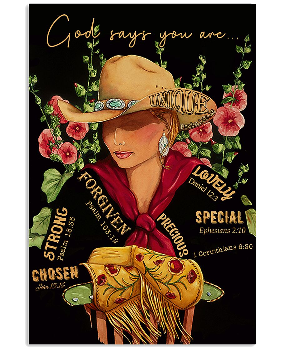 God Says Cowgirl 16x24 Poster