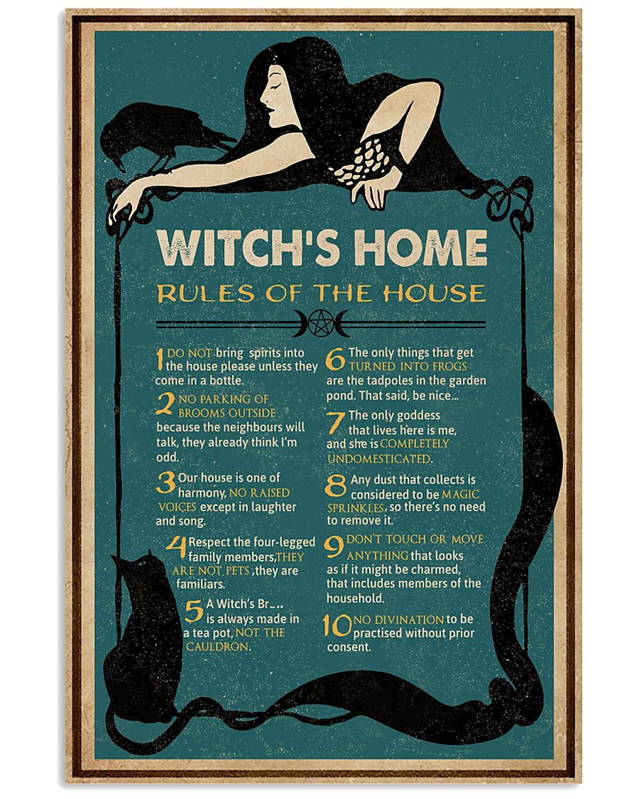 Retro Green Witch House Rules 11x17 Poster